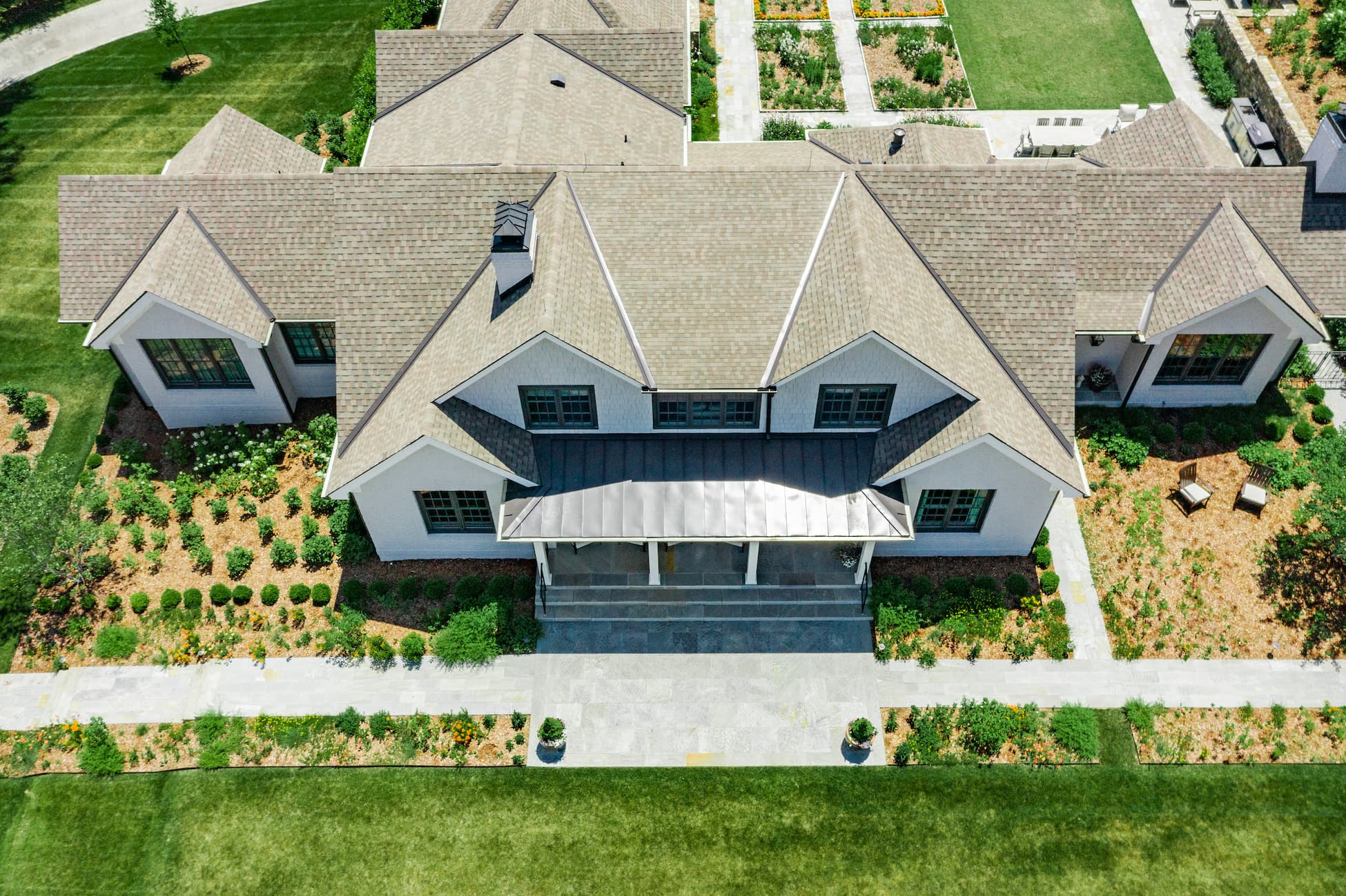 aerial view of a beautiful home roof